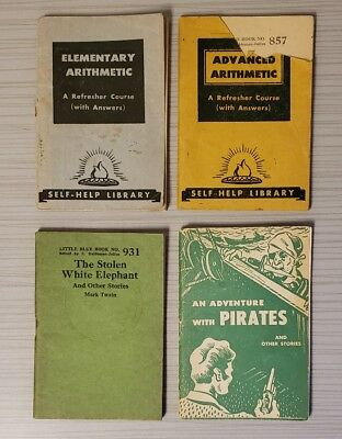 Lot of 4 Little Blue Books  - Arithmetic, Adventure with Pirates, Mark Twain
