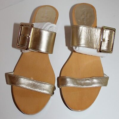 2c23d909f Kate Spade Ny Metallic Gold Strap Buckle Wood Sole Sandal Sz 7.5 Auth Msrp   295