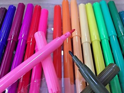 30 Fine Point Coloured Colour Pens Marker Textas Non Toxic Craft Painting Pen