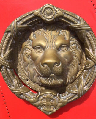 Original Vintage Brass MGM Studios Lion Head Door Knocker With Engraved Plate