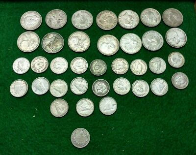 Lot of 36 Canada 10 & 25 cent Silver - Canadian Dime Quarters 80% .800 1920-1967