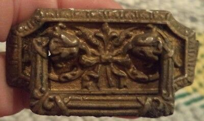 Set of 2 Ornate Victorian Drawer Pulls Brass Single Screw Eastlake? Ribbon Bow