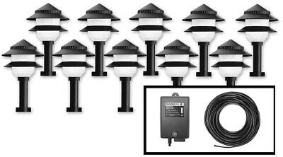 Moonrays Low Voltage Black Outdoor Landscape Path Lights With Control Box