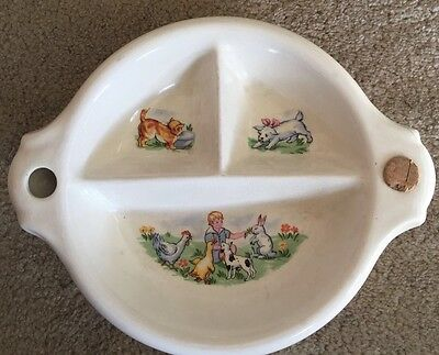 Vintage Childs/Baby Ceramic collectible divided warming dish/bowl