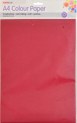 Craft Paper A4 80gsm 25 Pack Crimson