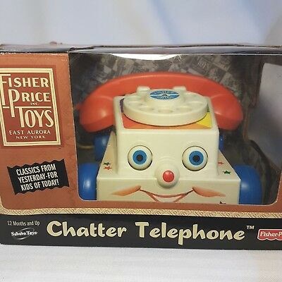 Vintage Fisher Price Classic Pull Toy: CHATTER TELEPHONE Reproduction with Box
