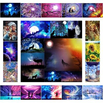 DIY Moon Sky 5D Full Drill Diamond Painting Embroidery Mosaic Cross Stitch Decor