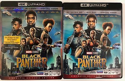 Marvel Black Panther 4K Ultra Hd Blu Ray 2 Disc Set + Slipcover Sleeve Free Ship
