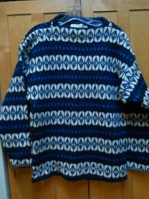 Vintage Iceland Hans Heitsch 100% Blue Lambswool Sweater by Jersey Modeller, L