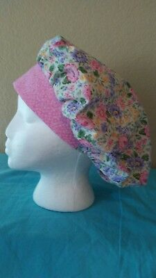 Pink and Purple Flowers Women's Bouffant Surgical Scrub Hat/Cap Handmade