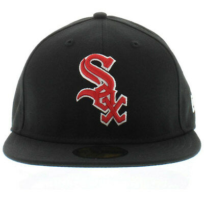 factory authentic 560c0 d4ce4 Chicago White Sox New Era Black Red Fitted Hat Cap 7 5 8 5950 59FIFTY