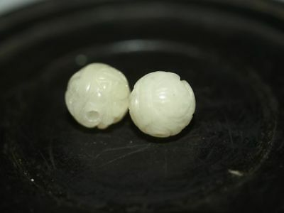 PAIR Vintage Carved Chinese Natural Cream Agate Stone Beads 10mm Round, Shou
