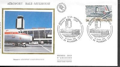 FR332  France 1982  aéroport bale-mulhouse  SILK FDC $4.00