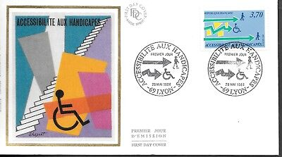 FR347   France 1988 accessilite handicapes    SILK FDC $4.00