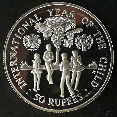 1980 Seychelles UNICEF Year of the Child Silver (.925) 50 Rupees coin
