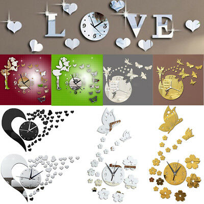 Removable Wall Clock 3D Sticker Mirror Watch DIY Home Room Decal Decors Smooth