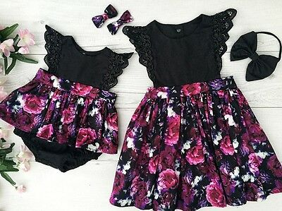 Toddler Kid Baby Girl Sister Matching Floral Jumpsuit Romper Dress Outfits Set z