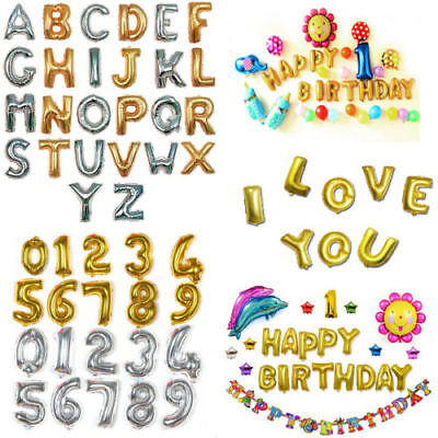 "Gold/Silver 16""/40"" Birthday Wedding Party Decor Foil Letter Number Balloons"
