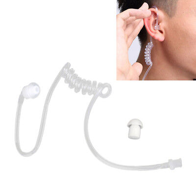 Clear Coiled Acoustic Tube With Earbud For Two-Way Radio Headset Earpiece Mic