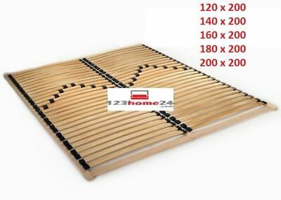 Bed Frame 120/140/160/180/200 x 200 Slatted Base 56 Slats Solid Beech Wooden