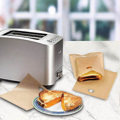5x Toaster Bags Grilled Cheese Sandwiches Reusable Non-stick Bread Bags Good Use