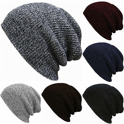 Womens Winter Warm Knit Mens Baggy Beanie Oversize Ski Hat Slouchy Cap Skull Hot
