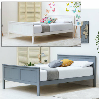 Modern Solid Pine Wooden Bed Frame White / Grey Single / Double / King Size