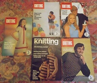 "5 Collectable ""modern"" Knitting Machine Pattern Books - 1968-1970 I Will Post"