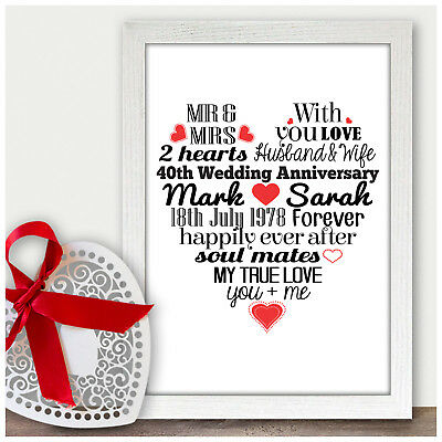 Personalised 40th Ruby Wedding Anniversary Gifts for Mum and Dad Parents Gifts