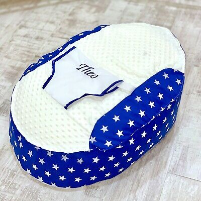 Personalised Boys Royal Blue Star Pre Filled Baby Bean Bag