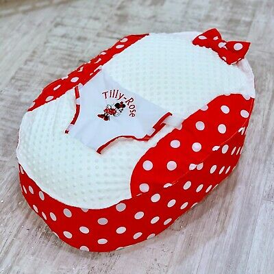 Personalised Girls Red Polka Dot Minnie Mouse Pre Filled Baby Bean Bag