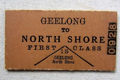 VICTORIAN RAILWAYS -  Geelong to North Shore - First Class Single