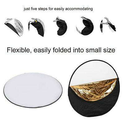 """NEW110cm 43"""" 5-in-1 Photo Studio Collapsible Circular Round Reflector + Case"""