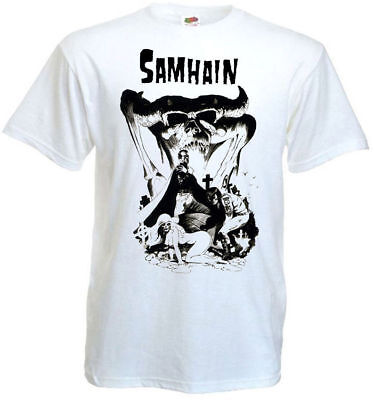Samhain v2 T shirt white vintage poster horror punk band all sizes S-5XL