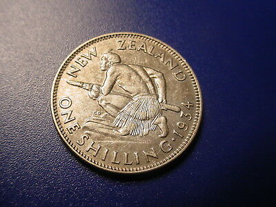 New Zealand - Silver - 1934 Shilling In Excellent Condition