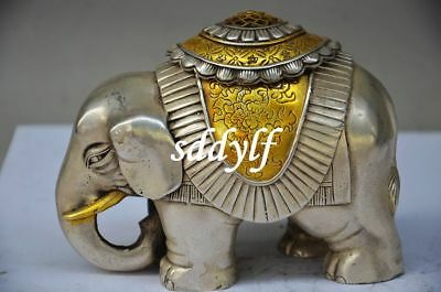 Collectible Chinese Silver Gilt Handmade Carved Elephant Incense Burner