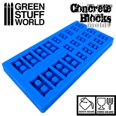 CONCRETE BRICKS Textured SILICONE MOLD - for resins - Impression modeling 40k