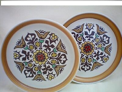 Denby Langley Canterbury Set of 2 Dinner Plates 26cm dia good used condition.