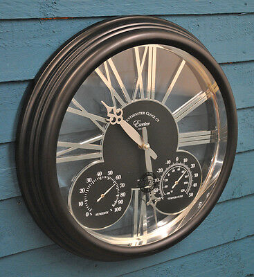 Wall Clock Thermometer And Humidity Gauge Exeter 15 Inch Outside In Designs
