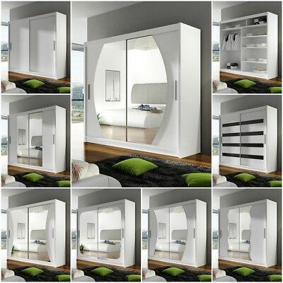 Sliding Door Wardrobe 180 with Double Mirror LED in White Black Choco Sonoma