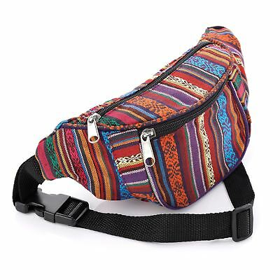 Multi Colour Bum Bag Fanny Pack Festival Money Holiday Shopping Travel Belt