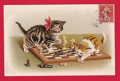 Carte Postale Old Postcard Cat CPA CHATS jeu echecs - cats playing chess 1907