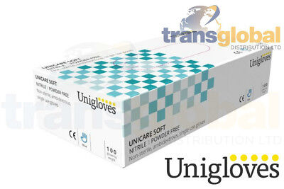 Single Use Blue Nitrile Powder Free Gloves - Pack of 100 Various Size - UNICARE