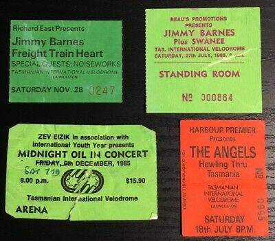 4 x original used tickets for Midnight Oil  Jimmy Barnes and Angels Tasmania 80s