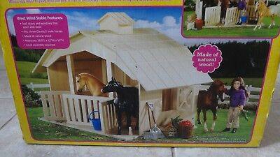 Brand New in Box Breyer West Wind Wooden 3 Horse Stable/Barn! 1:12 Scale