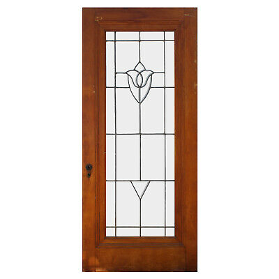 """Salvaged 36"""" Antique Door with Leaded and Beveled Glass, NED877"""