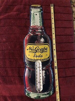 Vintage Nu-Grape Soda Thermometer Sign   Antique Juice Signs Soda Cola Pop
