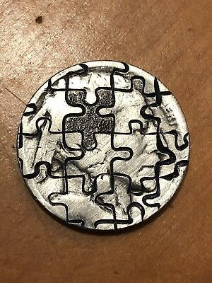 Puzzle Piece Of My Mind Real Hobo Nickel Art Coin Original Hand Carved
