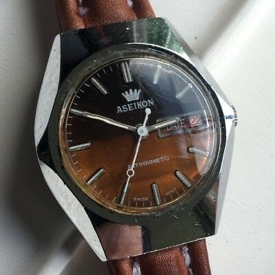 429830bc60b5 aseikon cuerda manual vintage watch reloj 37 mm funcionando - working