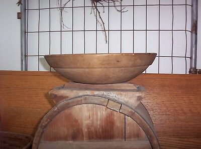 "Antique Primitive Farmhouse Wood Wooden Dough Bowl 12"" With Very Wide 1 1/4"" Rim"